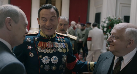 (L-R) Buscemi, Isaacs, and Simon Russell Beale in The Death Of Stalin
